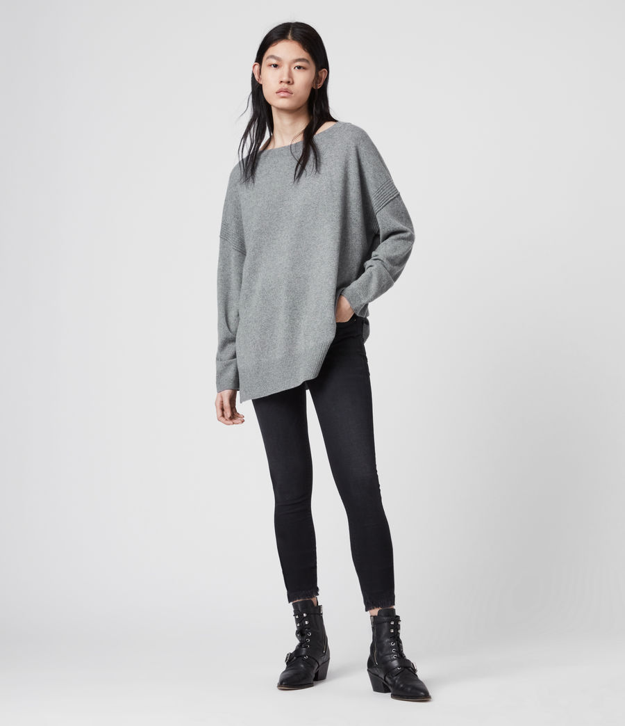 Womens Tara Cashmere Blend Sweater (mid_grey_marl) - Image 2