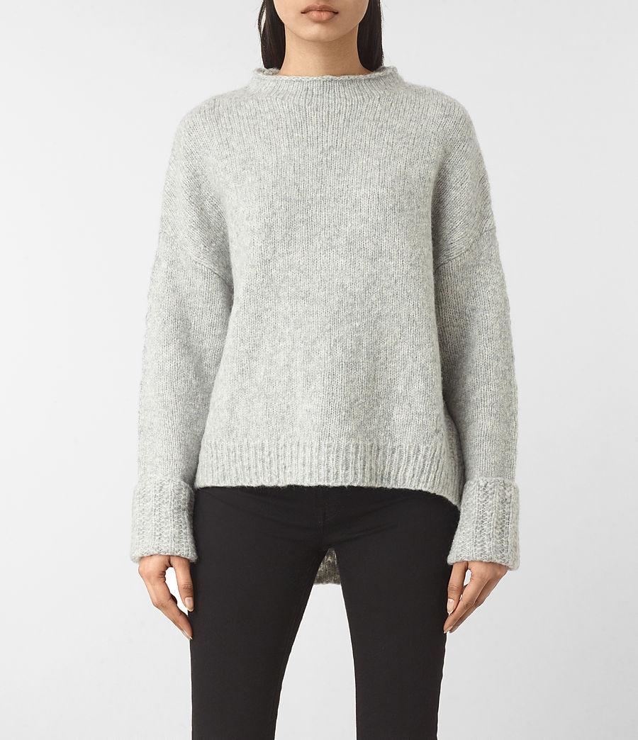 Womens Popcorn Funnel Neck Sweater (grey_marl) - Image 1
