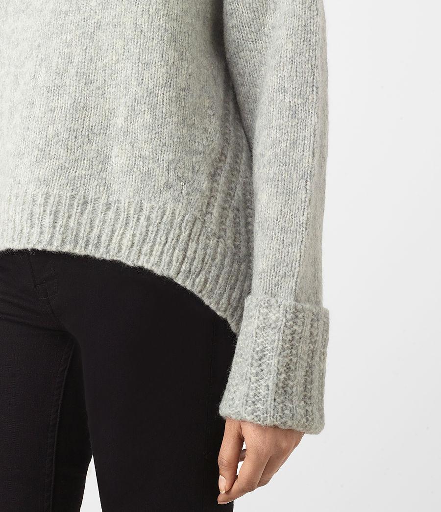 Womens Popcorn Funnel Neck Sweater (grey_marl) - Image 3