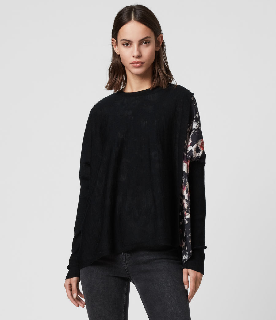 Womens Koko Wing Wrap Sweater (black) - Image 1