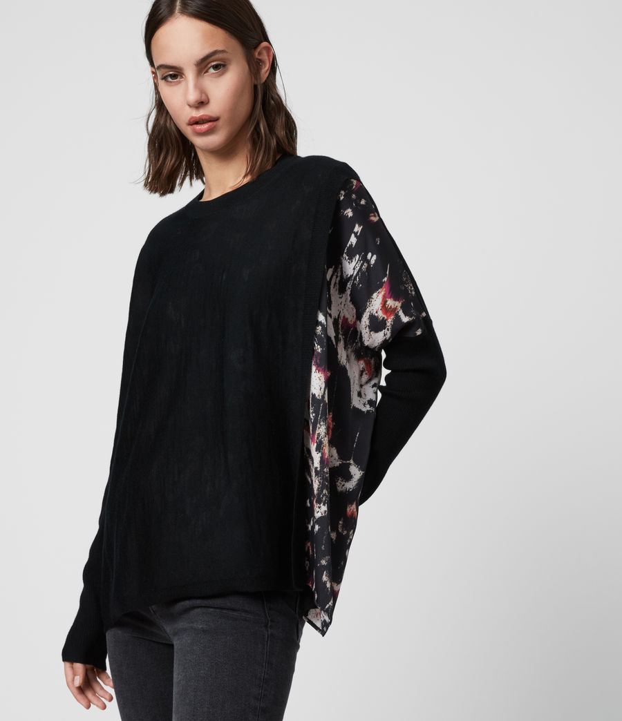 Womens Koko Wing Wrap Sweater (black) - Image 2