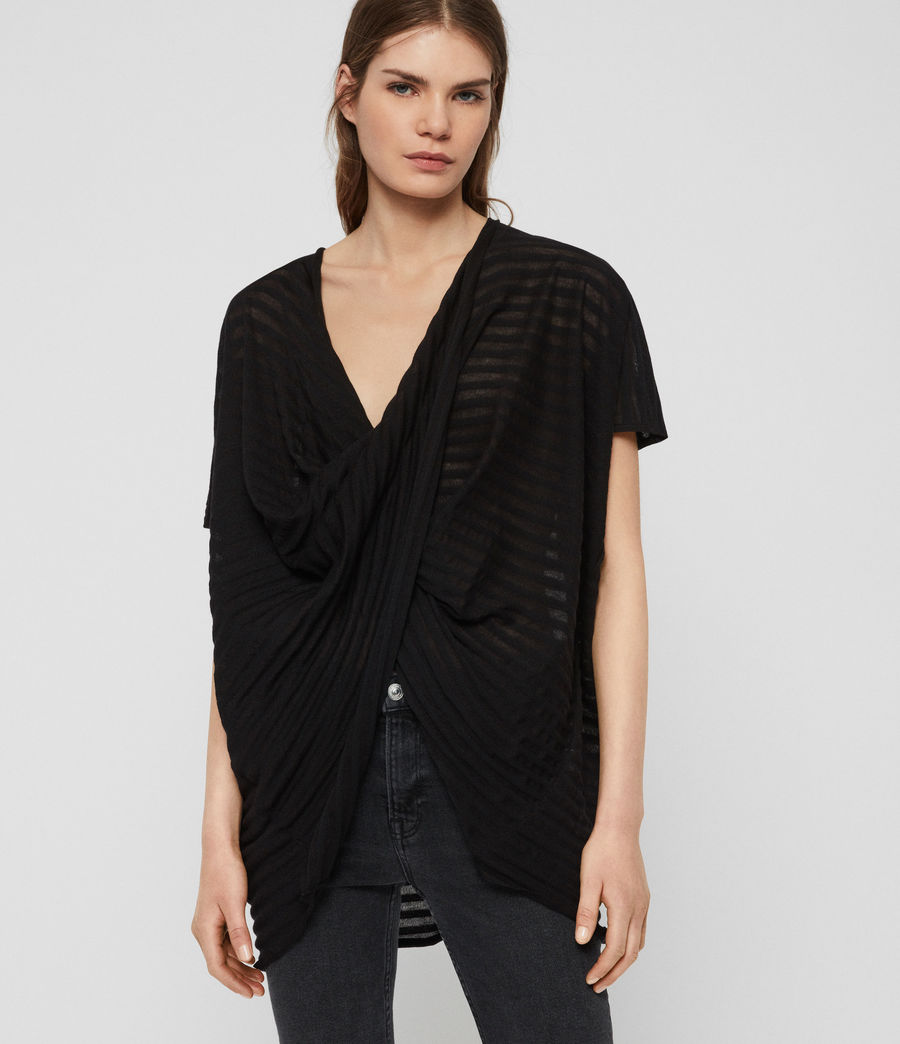 Damen Stripe Itat T-Shirt (black) - Image 1