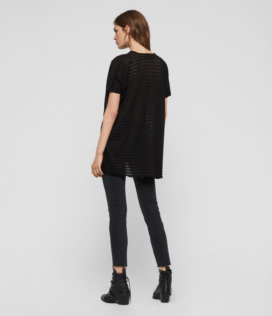 Womens Stripe Itat T-Shirt (black) - Image 4
