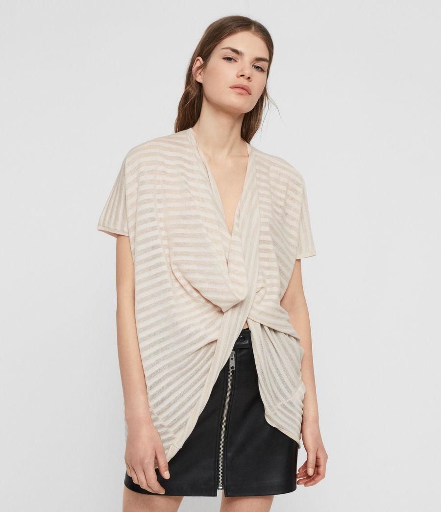 Womens Stripe Itat T-shirt (parchment_pink) - Image 1