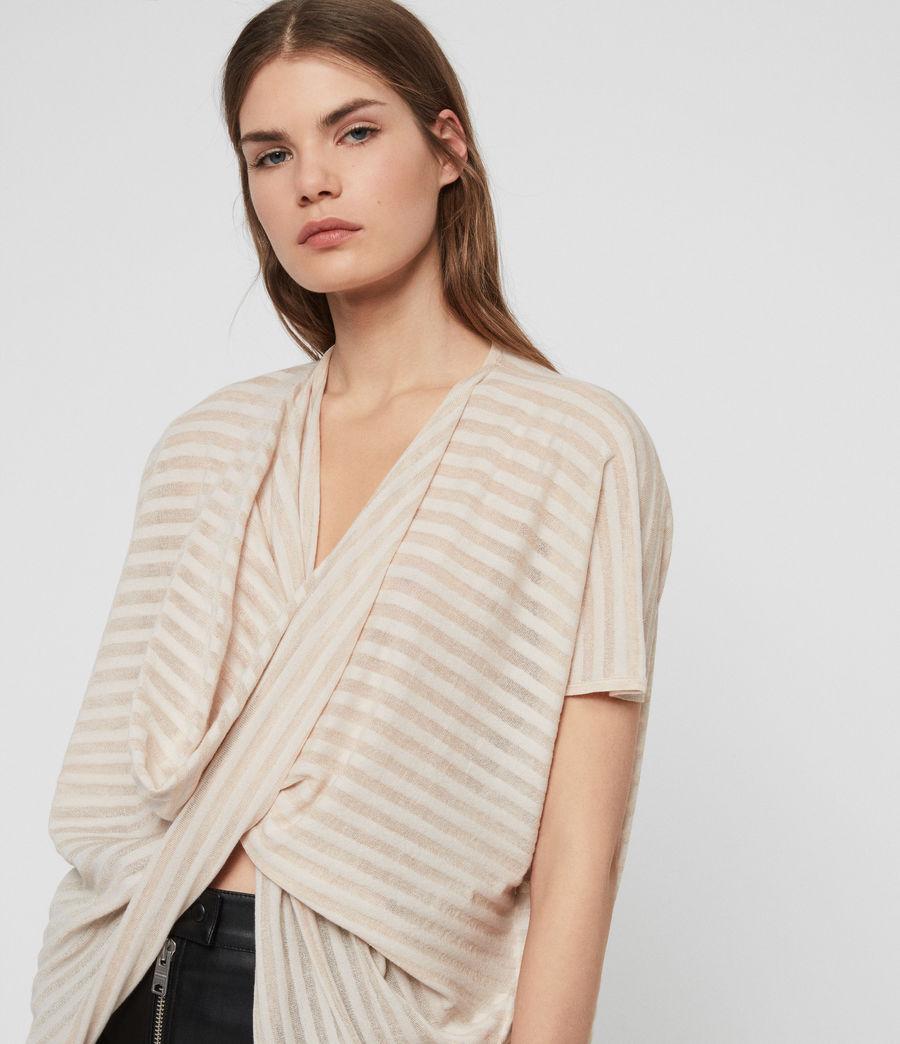 Womens Stripe Itat T-shirt (parchment_pink) - Image 2
