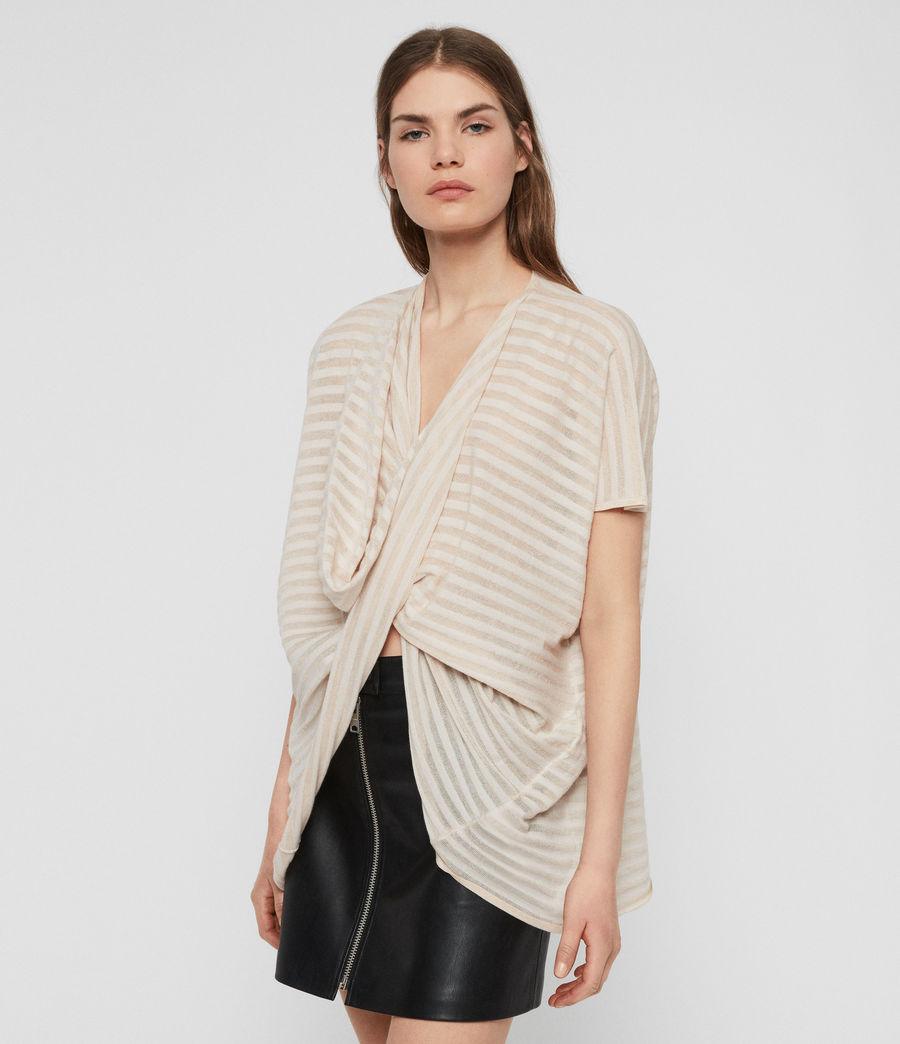 Womens Stripe Itat T-shirt (parchment_pink) - Image 3