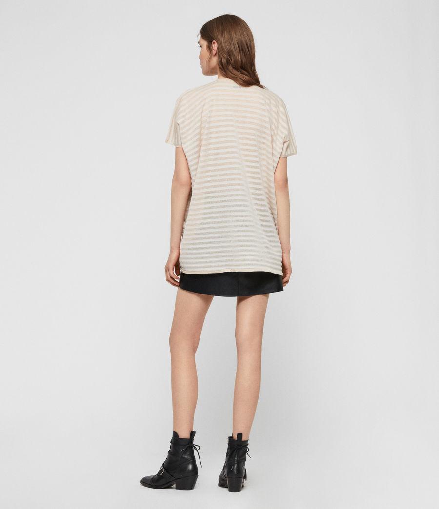 Womens Stripe Itat T-shirt (parchment_pink) - Image 5
