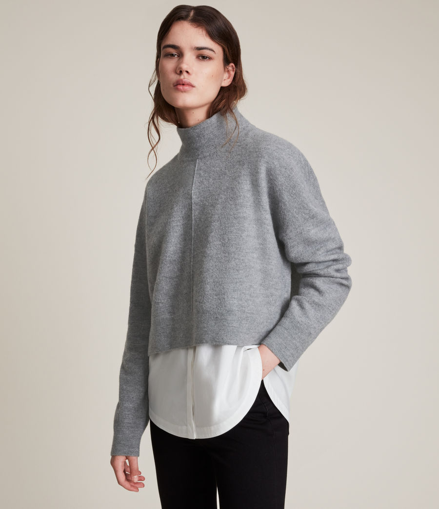 Womens Lydi Shirt Jumper (grey_marl_white) - Image 1