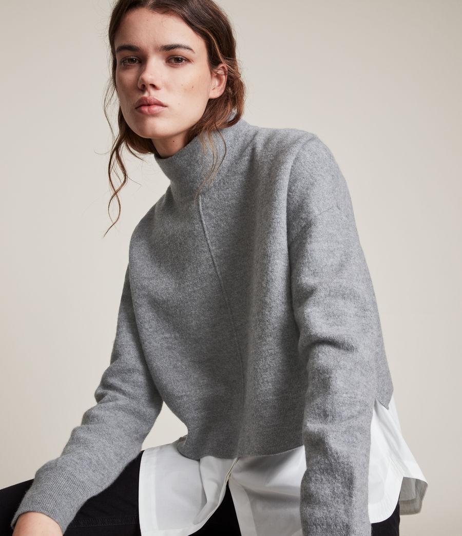 Womens Lydi Shirt Jumper (grey_marl_white) - Image 2
