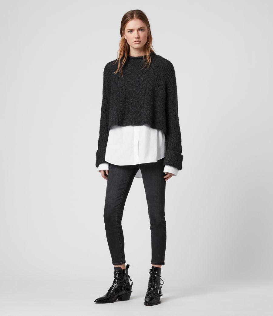 Mujer Suéter con Efecto Camisa Kalk (cinder_black_marl) - Image 1