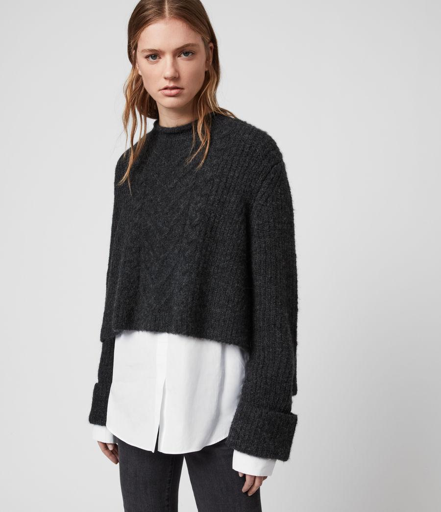 Mujer Suéter con Efecto Camisa Kalk (cinder_black_marl) - Image 2