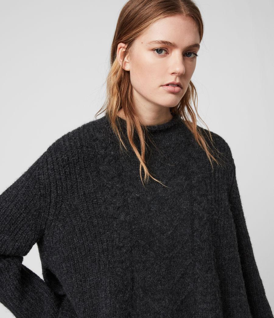 Mujer Suéter con Efecto Camisa Kalk (cinder_black_marl) - Image 3