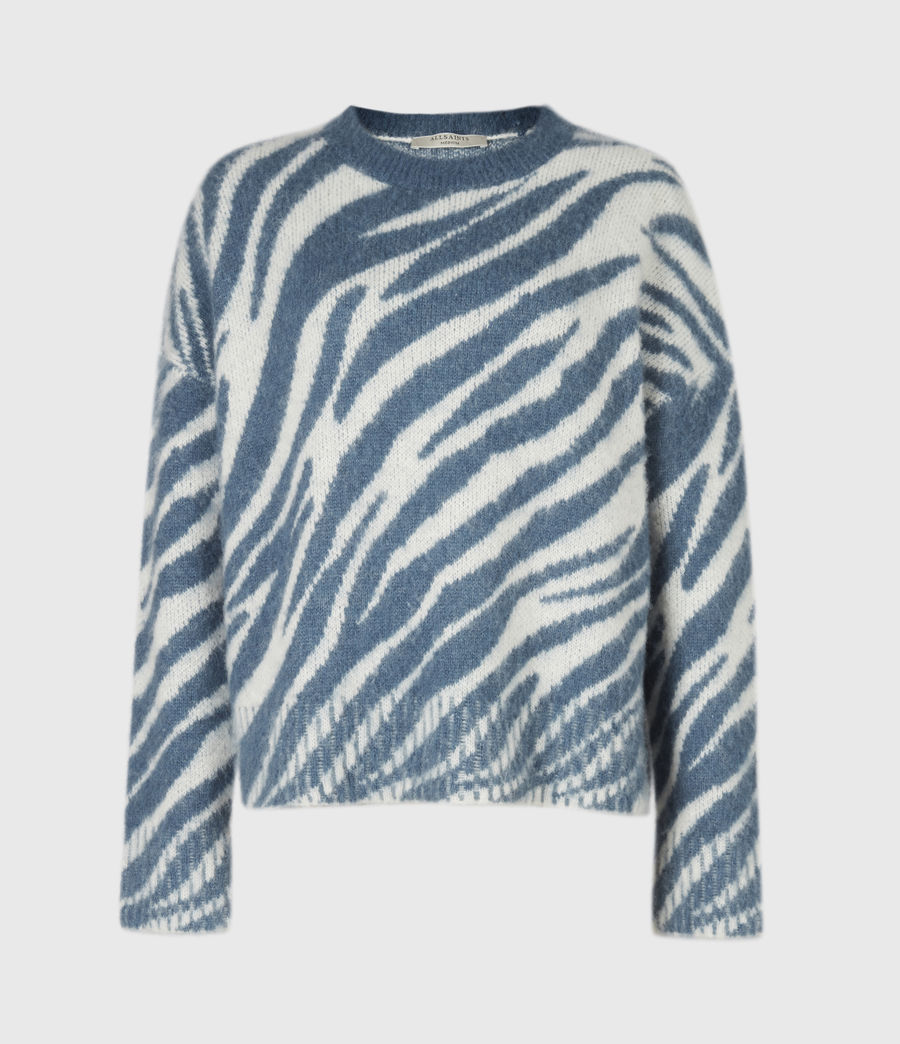 Womens Pina Tiger Sweater (cream_pale_blue) - Image 2