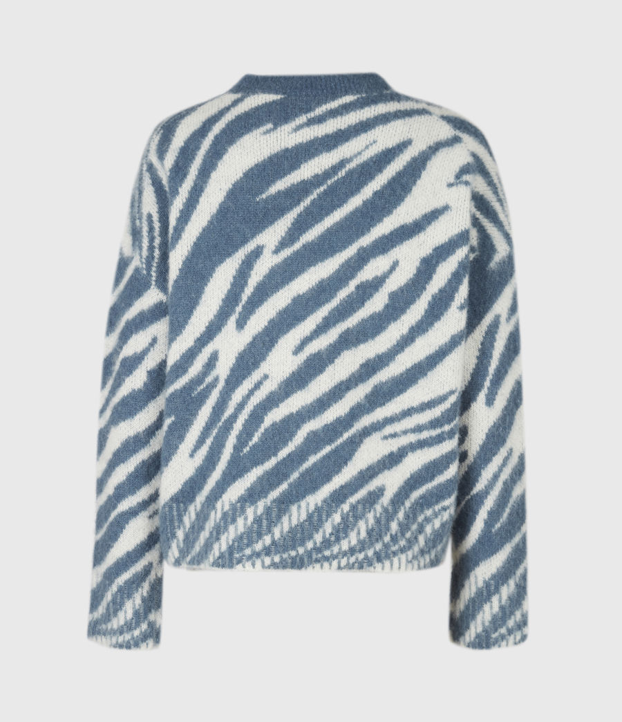 Womens Pina Tiger Sweater (cream_pale_blue) - Image 3