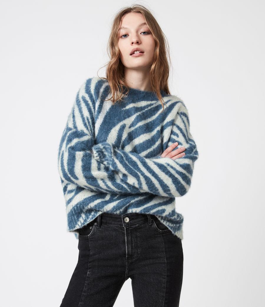 Womens Pina Tiger Sweater (cream_pale_blue) - Image 4