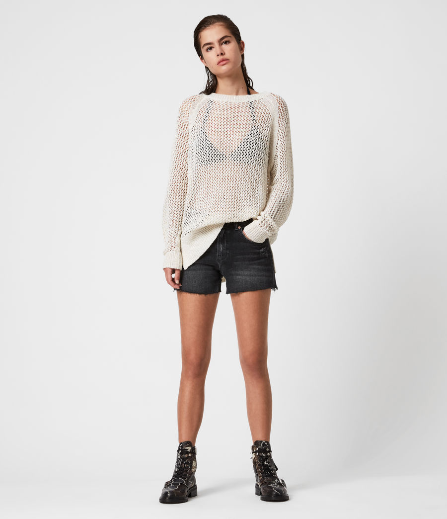 Women's Mesh Metallic Crew Jumper (white_gold) - Image 1