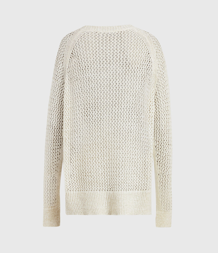 Women's Mesh Metallic Crew Jumper (white_gold) - Image 3
