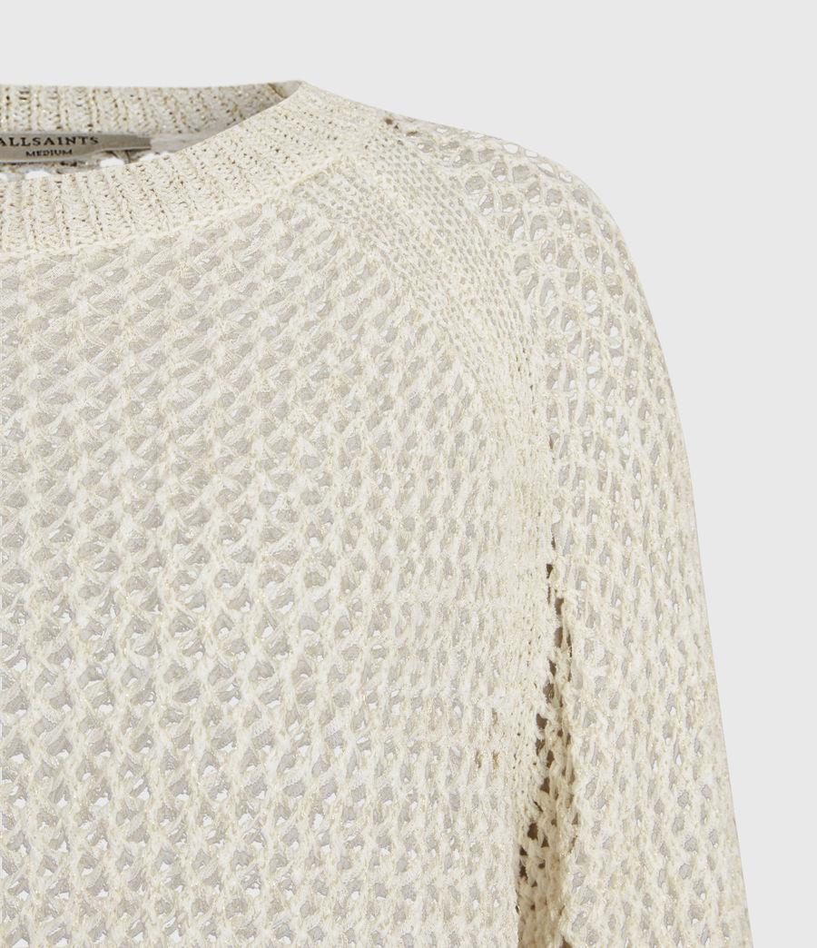 Womens Mesh Metallic Crew Sweater (white_gold) - Image 4