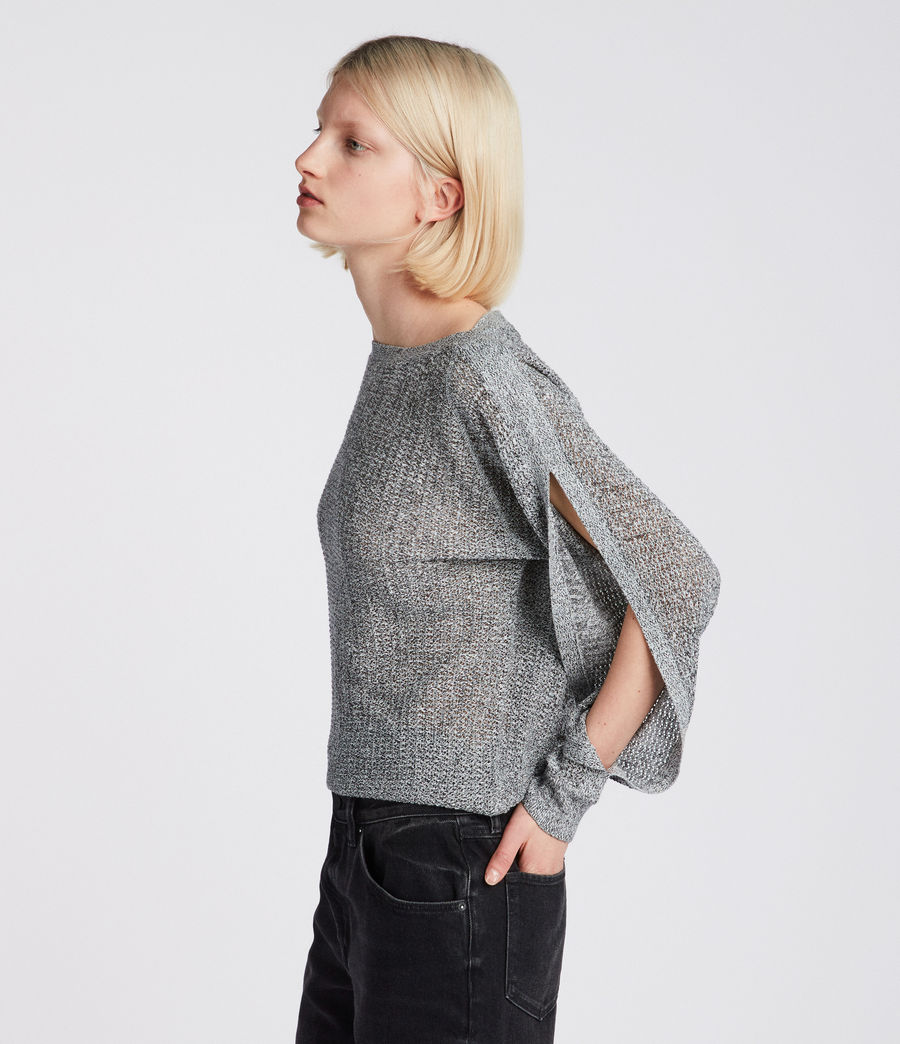 Women's Elle Open Shoulder Knit Top (grey) - Image 1