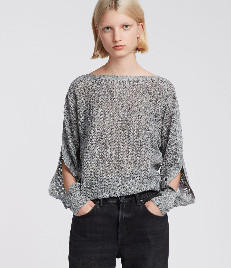 Women's Elle Open Shoulder Knit Top (grey) - Image 2