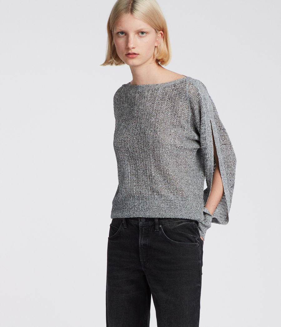 Women's Elle Open Shoulder Knit Top (grey) - Image 3