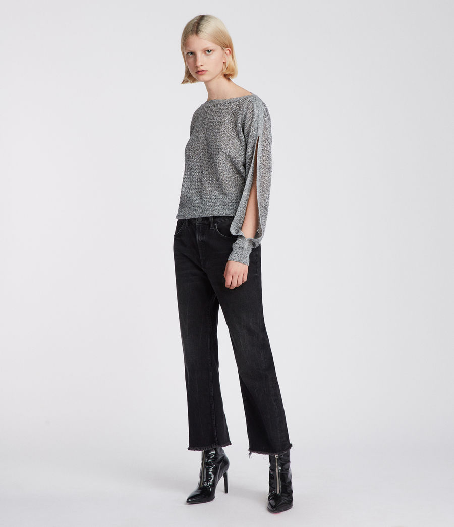 Womens Elle Open Shoulder Knit Top (grey) - Image 4