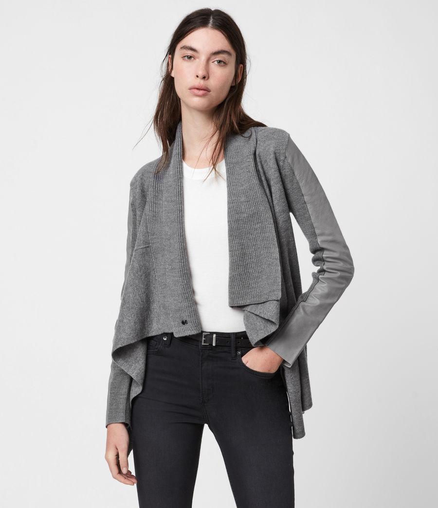 Womens Lucia Merino Wool Cardigan (grey_marl) - Image 1