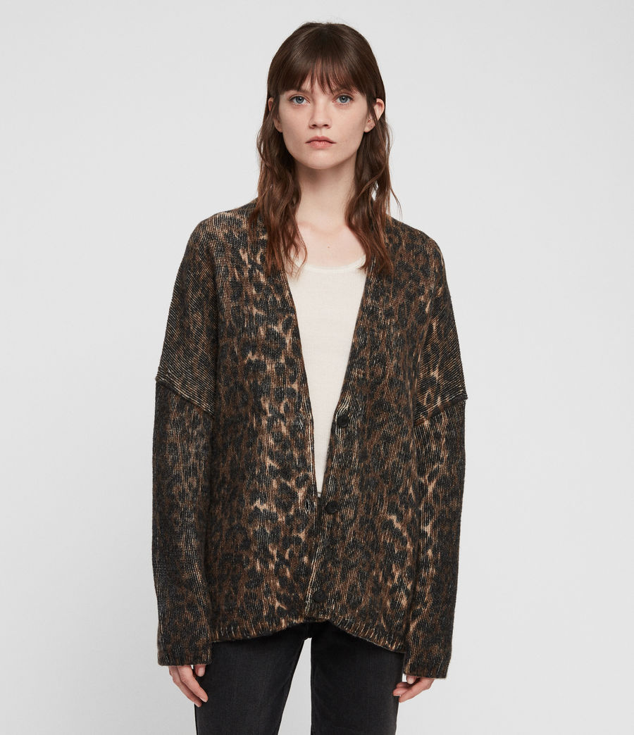 Womens Leopard Cardigan (leopard_brown) - Image 1