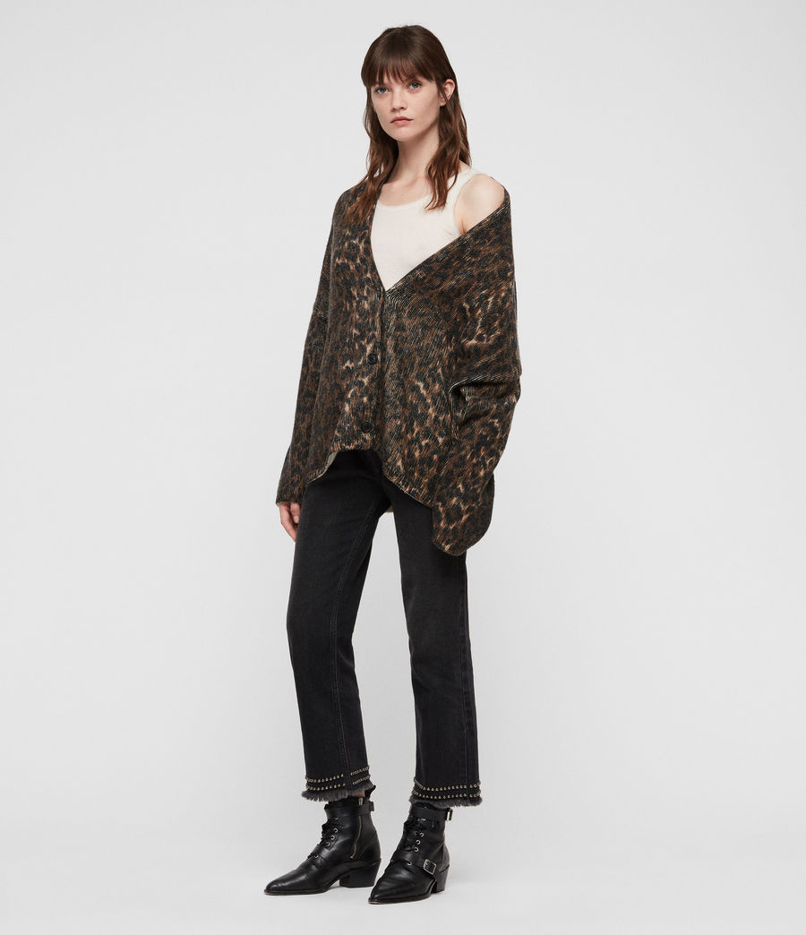 Womens Leopard Cardigan (leopard_brown) - Image 2