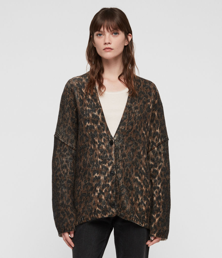 Womens Leopard Cardigan (leopard_brown) - Image 3