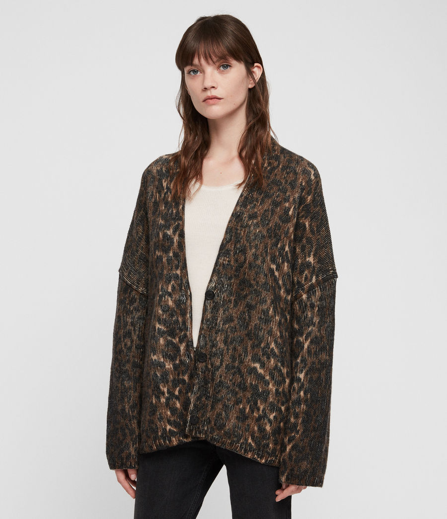 Womens Leopard Cardigan (leopard_brown) - Image 4