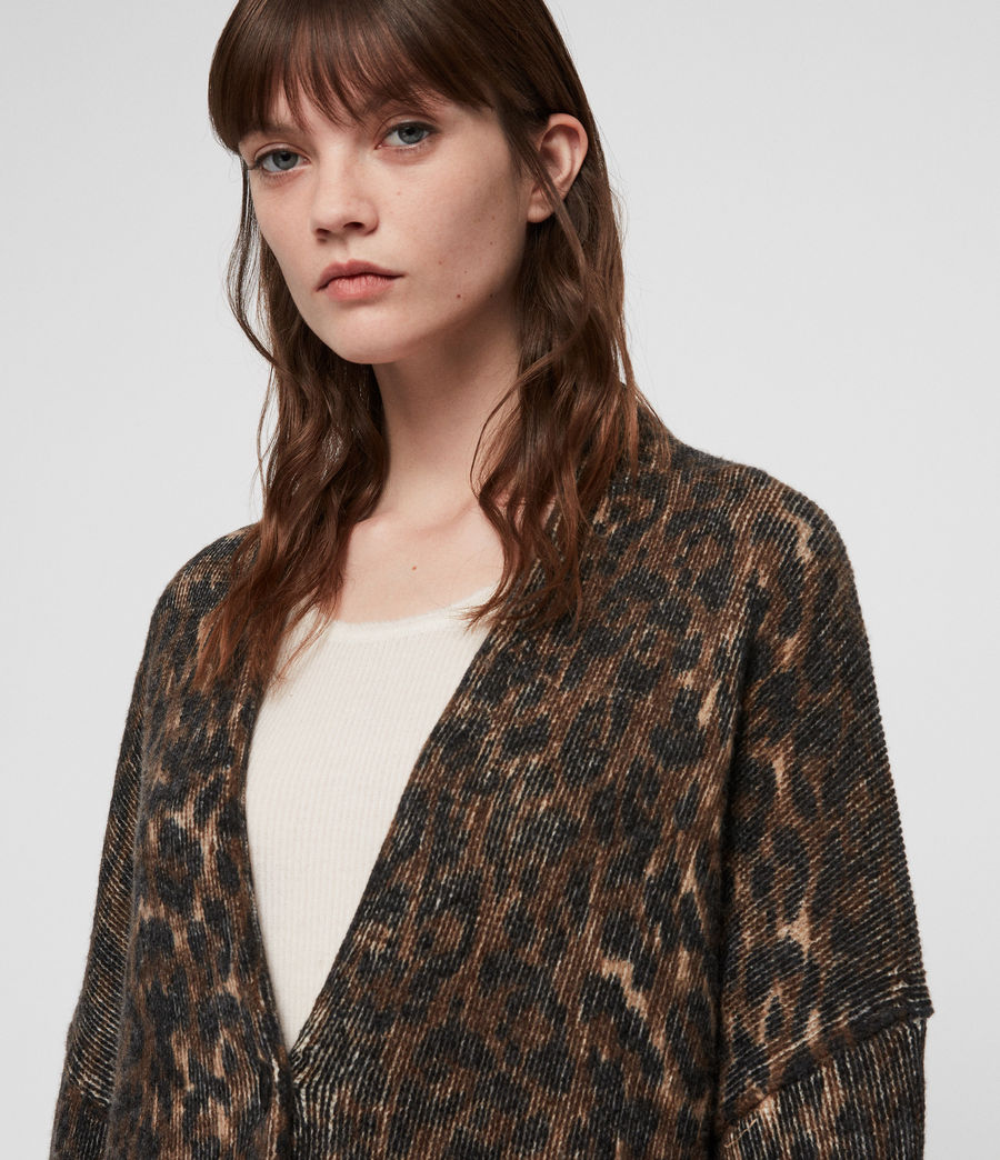 Womens Leopard Cardigan (leopard_brown) - Image 5