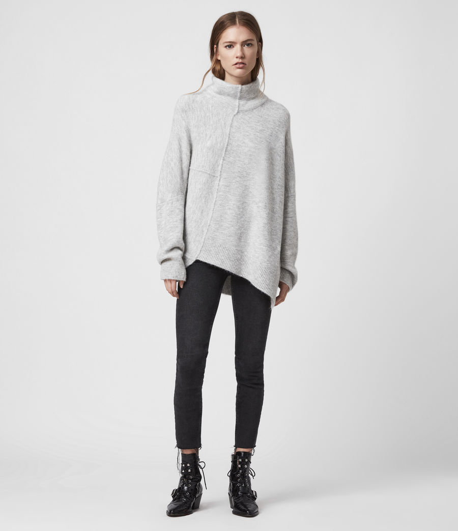 Womens Lock Roll Neck Sweater (pale_grey_marl) - Image 1