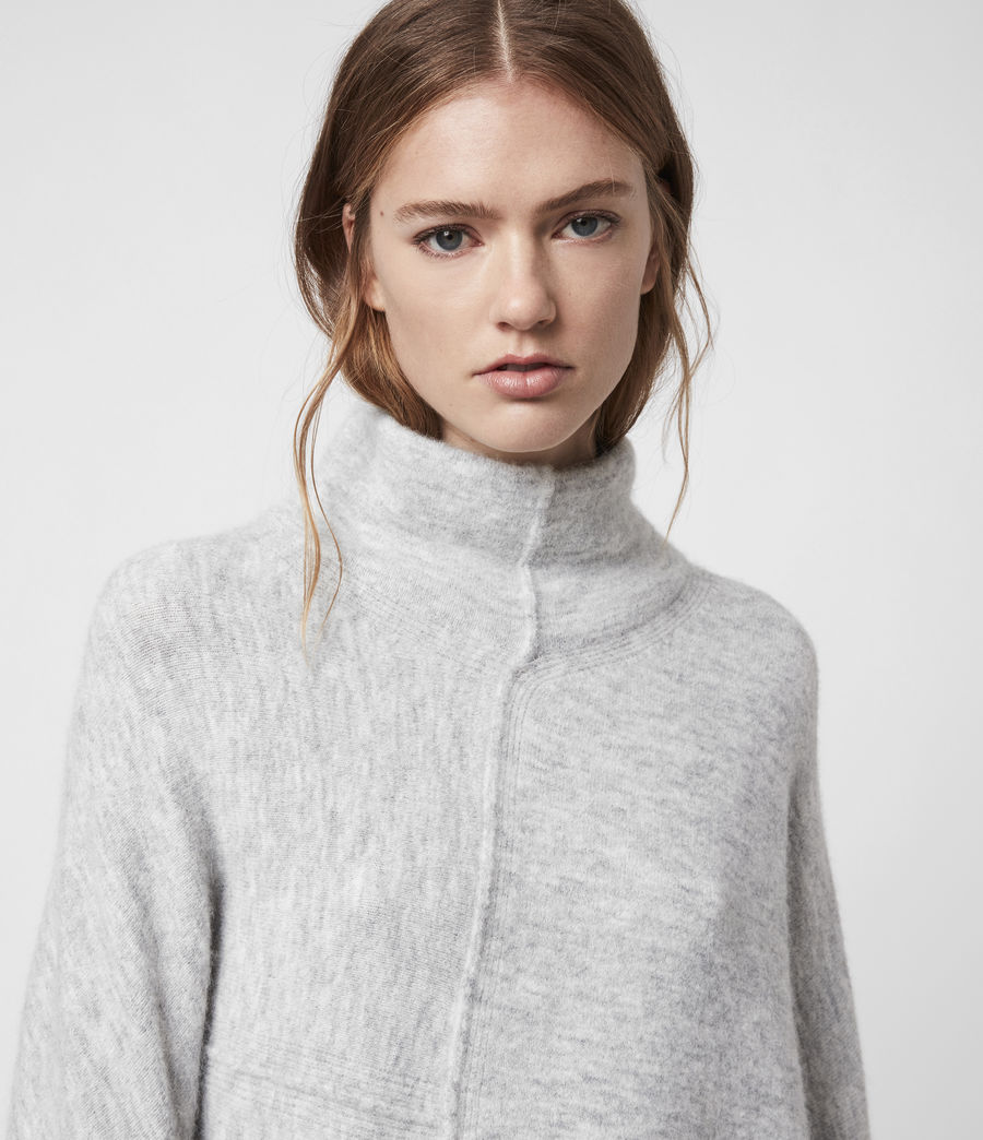 Womens Lock Roll Neck Sweater (pale_grey_marl) - Image 2