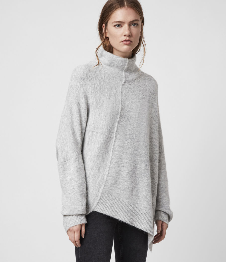 Womens Lock Roll Neck Sweater (pale_grey_marl) - Image 3