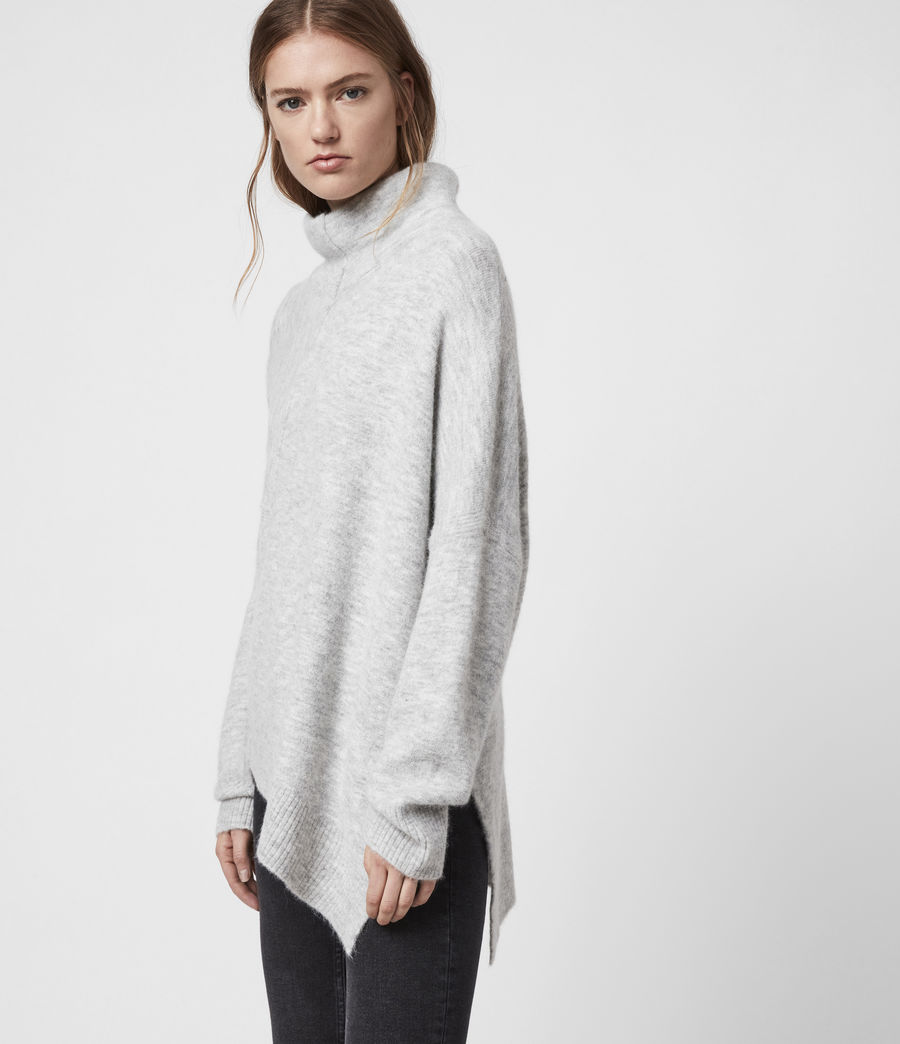 Womens Lock Roll Neck Sweater (pale_grey_marl) - Image 4
