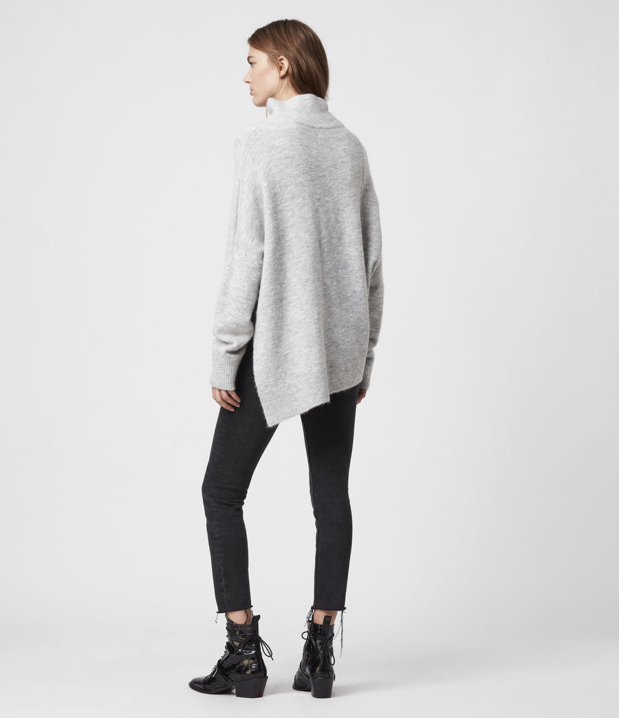 Womens Lock Roll Neck Sweater (pale_grey_marl) - Image 5