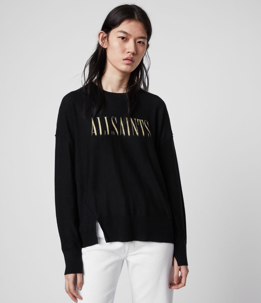 Damen A Saints Bleach Merino Woll Pullover (black) - Image 3