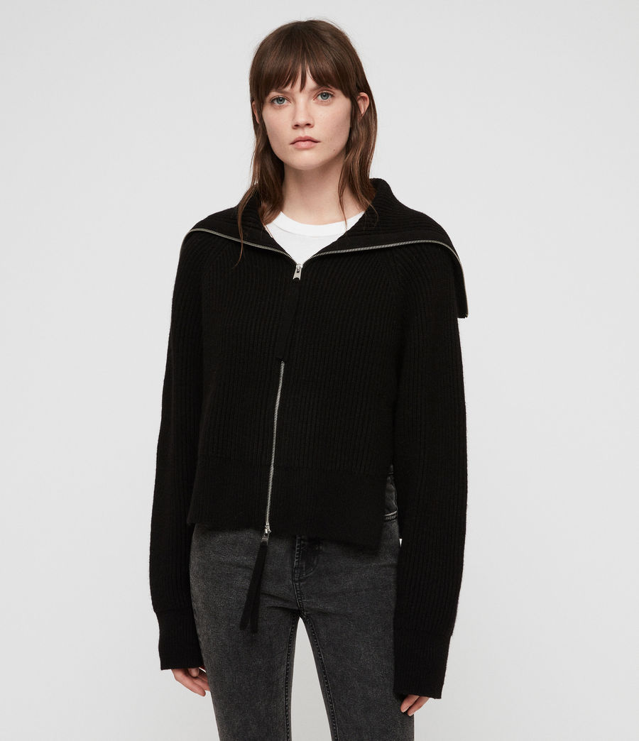 Womens Jones Zip Through Sweater (black) - Image 1