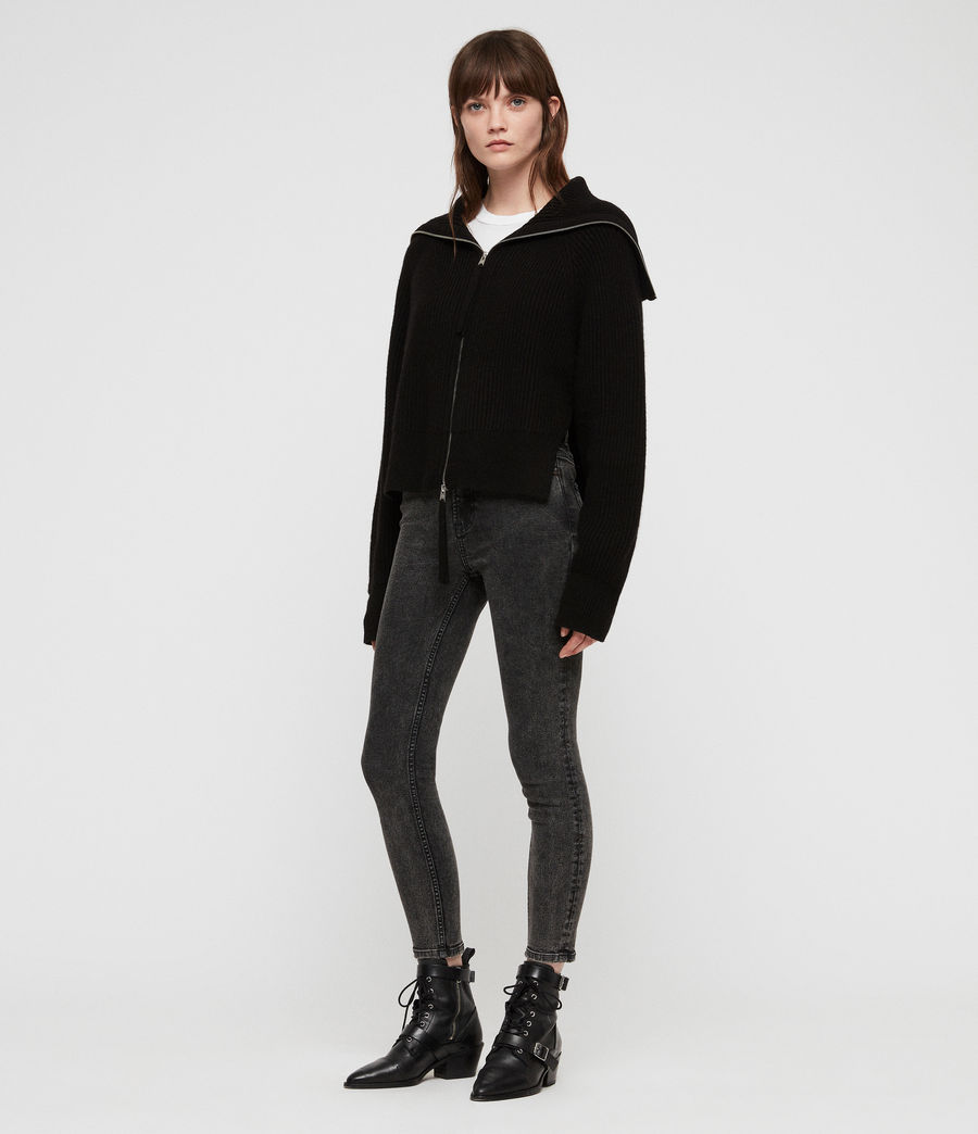 Womens Jones Zip Through Sweater (black) - Image 3