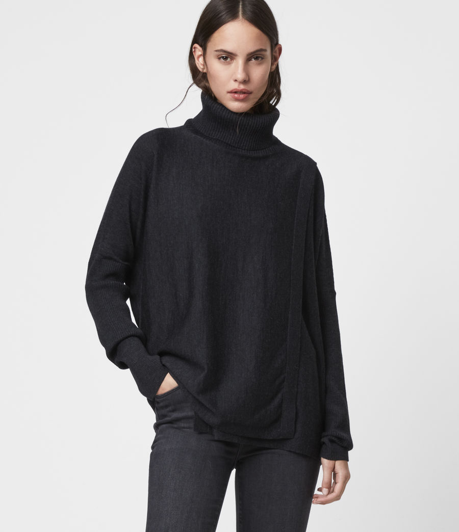 Womens Koko Wrap Sweater (cinder_black_marl) - Image 1