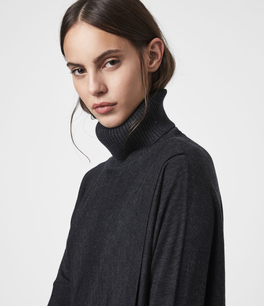 Womens Koko Wrap Sweater (cinder_black_marl) - Image 2
