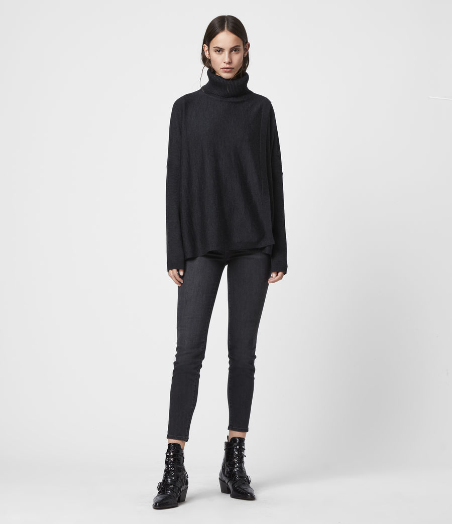 Womens Koko Wrap Sweater (cinder_black_marl) - Image 3