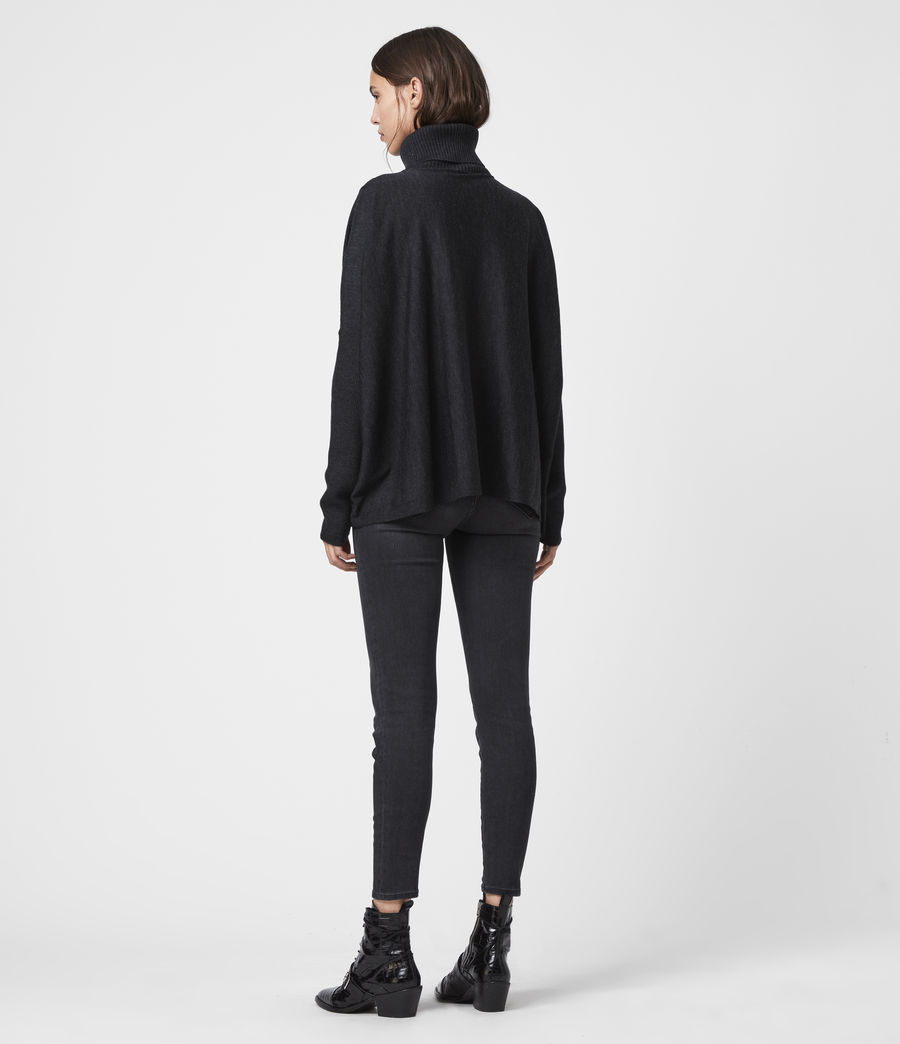 Womens Koko Wrap Sweater (cinder_black_marl) - Image 5