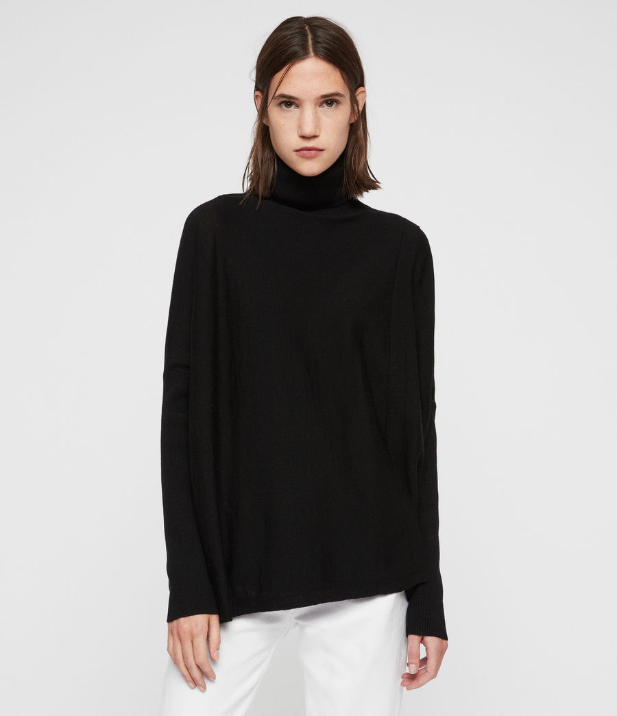 Womens Koko Wrap Sweater (black) - Image 3