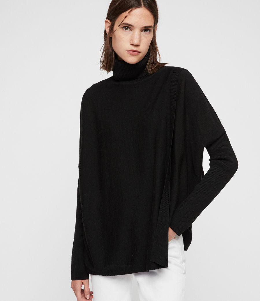 Womens Koko Wrap Sweater (black) - Image 4