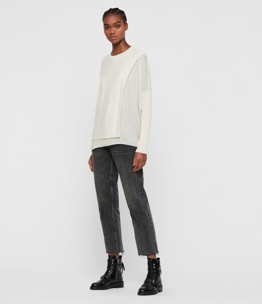 Damen Koko Wrap Crew Neck Jumper (chalk_white) - Image 1