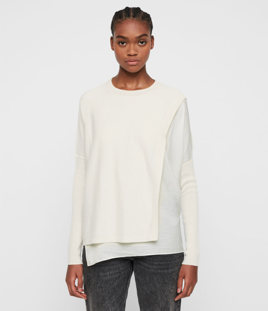 Damen Koko Wrap Crew Neck Jumper (chalk_white) - Image 2