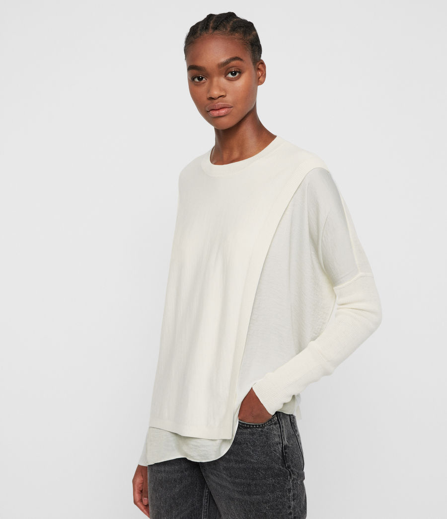 Damen Koko Wrap Crew Neck Jumper (chalk_white) - Image 3
