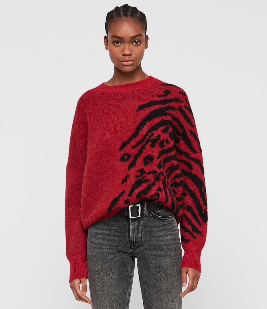 Womens Karina Sweater (red_black) - Image 1